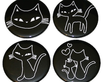 Cute Kitty Cats - Set of 4 Large Fridge Magnets