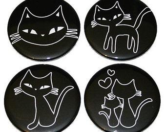 Cute Kitty Cats - Set of 4 Large Fridge Magnets