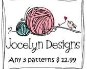 Three (3) CROCHET PATTERNS hat infinity cowl eternity scarf headband women crochet for 12.99