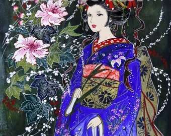 "Japanese Art -  Geisha ""Magnificent Magnolia"" 11 x 14 watercolor on cotton paper."