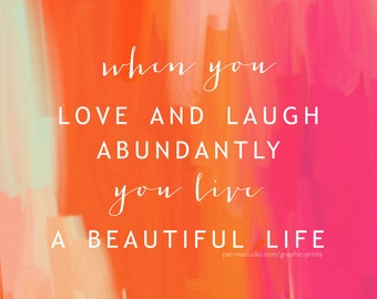 A Beautiful Life 8x8 Quote Inspirational Typography Print