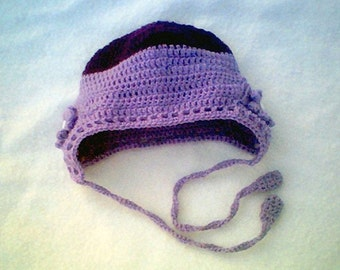 06 to 12 Month Button Rose Baby Earflap Beanie Dark Purple Light Lavender