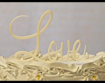 Love in script wedding cake topper - Love wedding cake topper - Love Cake Topper - custom cake topper