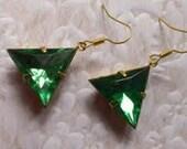 Vintage Emerald Green Triangle Brass Earring