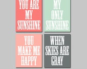 You Are My Sunshine Wall Art Decor Canvas Coral Seafoam Gray Peach Set of 4 Prints Poster Nursery Child Kid Room Baby Choose Your Quote