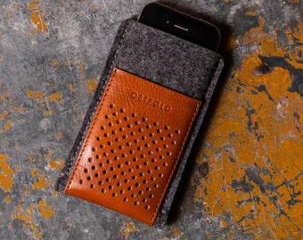 Etui cuir et laine feutrée pour iPhone SE - iPhone 5 OSTFOLD