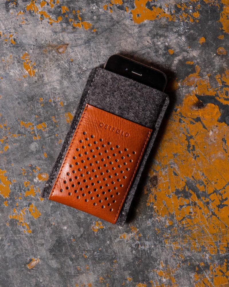 etui cuir et laine feutr e pour iphone se iphone 5 ostfold. Black Bedroom Furniture Sets. Home Design Ideas