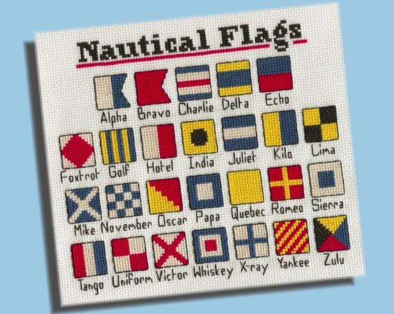 Cross Stitch Pattern: Nautical Flags Alphabet
