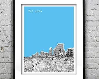 Tel Aviv Skyline Poster Tel Aviv Beach Israel Art Print