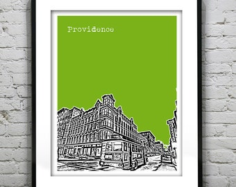 1 Day Only Sale 10% Off - Providence Rhode Island Skyline Poster Art Print Item T1225