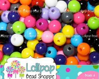 GUMBALL Beads 8mm Beads Gum Ball Beads Plastic Round Beads Solid Acrylic Beads MIX Plain Bubble Gum Beads Bubblegum Beads Bottlecap Beads