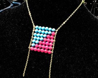 Pixel Dust- Gemstone Grid Necklace