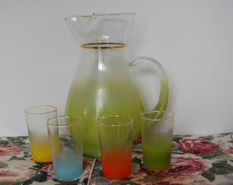 Vintage Lime Green Blendo pitcher and 4 glasses