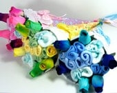 Baby Shower Gift- Baby Washcloth, Pampers and Rose Bouquet, Blue, Pink & Yellow Baby Shower Gift