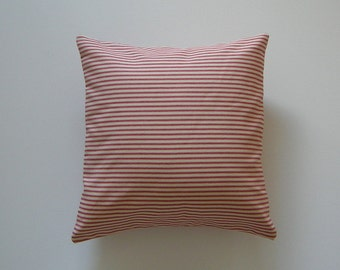 Ticking Striped 18x18 Pillow Cover Red Stripes On Cream Background