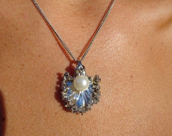 Silver dipped leaf necklace