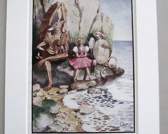 ORIGINAL 1944 Alice in Wonderland print (Book Plate) by Anthony Rado 1st edition
