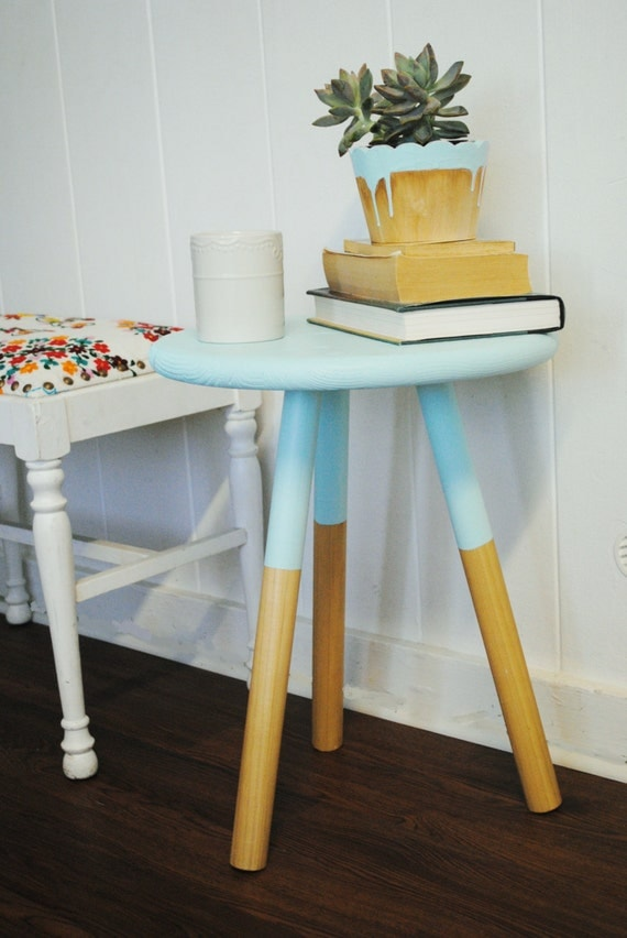Paint Dipped Three Legged Wooden Side Table Stool In Natural