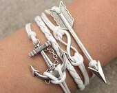 Jewelry Infinity bracelet Anchor bracelet Love bracelet Jewlery Arrow Bracelet White Bracelet black bracelet gift for girl valentine's gift