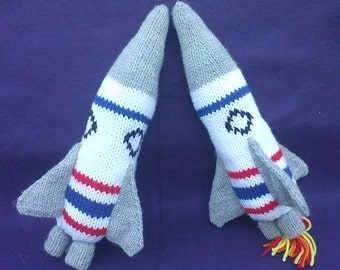 Rocket Ship Hand Knit Toy PATTERN - Instant Download