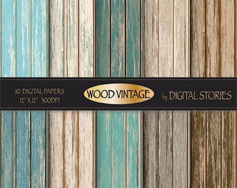 "Wood digital paper: ""WOOD DIGITAL PAPER"" distressed rustic wood in teal, brown, for scrapbooking, backdrops, invites"