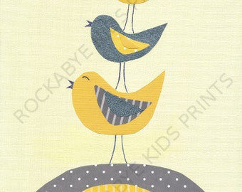 Sparrow Nursery Art Print, 8x10, kids room, yellow, grey