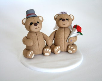 Bride and Groom Bear Wedding Cake Topper // Ready To Go