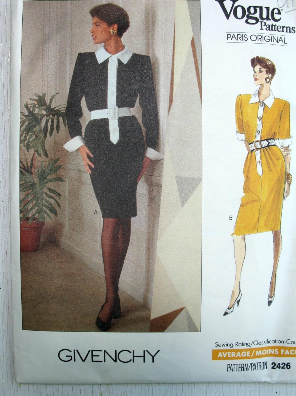 Givenchy Dress Pattern Vogue Paris Original 2426 UNCUT Size