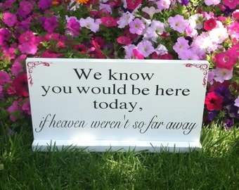 Wedding Signs -- In Loving Memory - We Know You Would be Here Today if Heaven Weren't So Far Away -  Custom Wood Signs -- Photo Prop