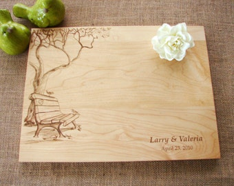 Custom Cutting Board with Tree and Birds Anniversary Gift Wedding Present Bridal Shower Gift Christmas Present