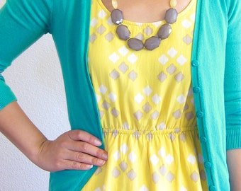 Yellow Grey long necklace, Yellow Grey statement necklace