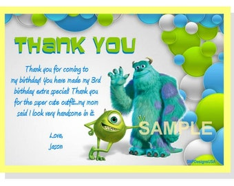 Personalized Monster Inc Thank You Card DIY Digital Download