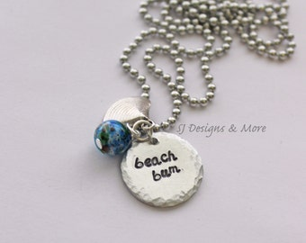 SALE! Hand Stamped 'beach bum' Necklace with Shell & Bead Charm