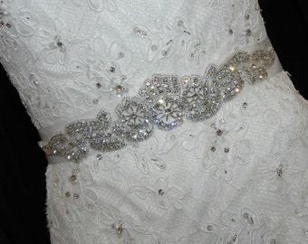 Modern Crystal Bridal Sash - Wedding Dress Belt
