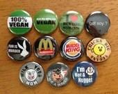 Vegan Buttons Pinback Buttons Set of 11