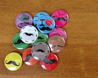 Mustache Buttons Pinback Button Set of 13, Mustash, Stash, Movember,