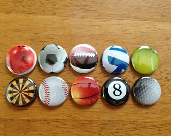 Sports Buttons Set of 10 - Buttons Pinback Buttons 1 inch Football, Baseball, Basketball, Soccer