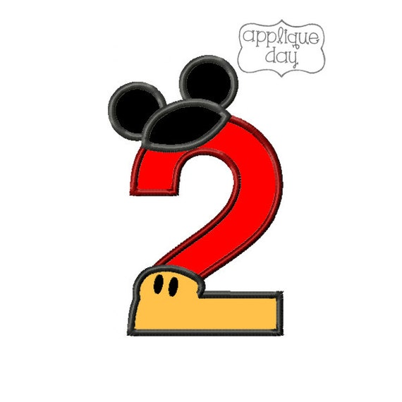 Mickey Mouse 2 Year Old Birthday Digital Applique By