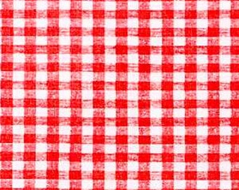 "54"" Red Gingham OilCloth with Flannel Backing- 1 yard"