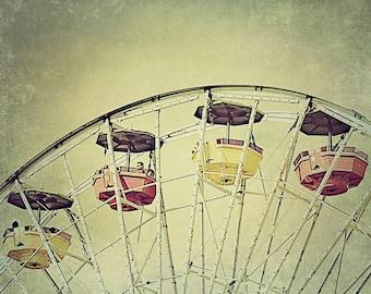 Ferris Wheel 5x7, 8x10, 11x14 Fine Art Photography Print, Carnival Photograph, Fair, Nursery Decor,