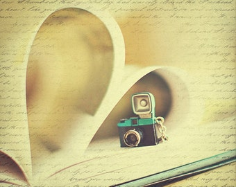 Love Letter 5x7, 8x10, 11x14 Fine Art Photography Print, Still Life Photography, Vintage Camera, Book Pages