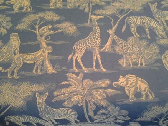 Items Similar To Blue Safari Fabric Jungle Bush Animal