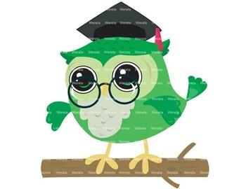 Graduation Owls Clipart Clip Art - graduation owl - graduation clipart - Education School Owls Clipart -  Personal and Commercial Use