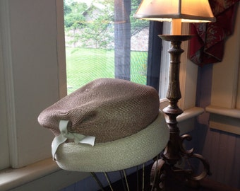 1960's Taupe & Cream Straw Hat w/ Cream Bow at Side