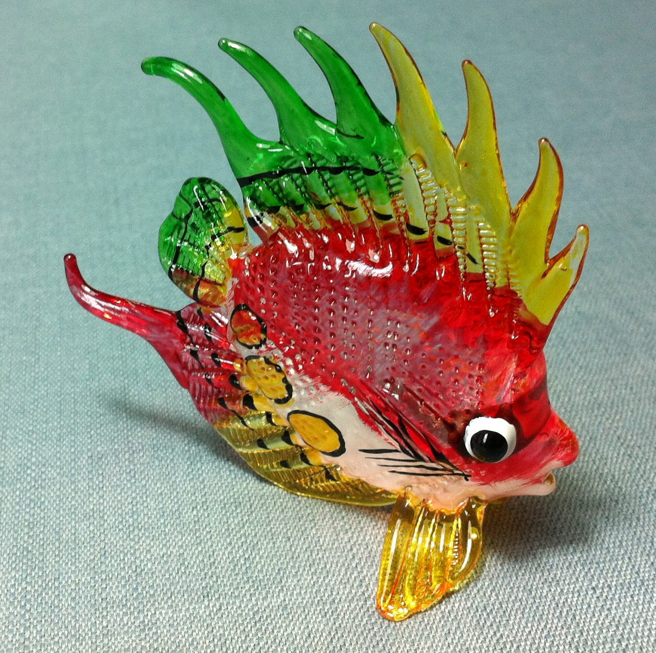 Hand blown glass exotic fish sea animal cute red orange green for Blown glass fish
