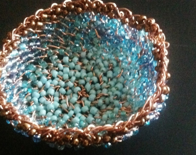 Light blue & copper miniature wire basket