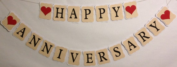 Happy Anniversary Party Decorations Wedding By Fitchcraftcreations