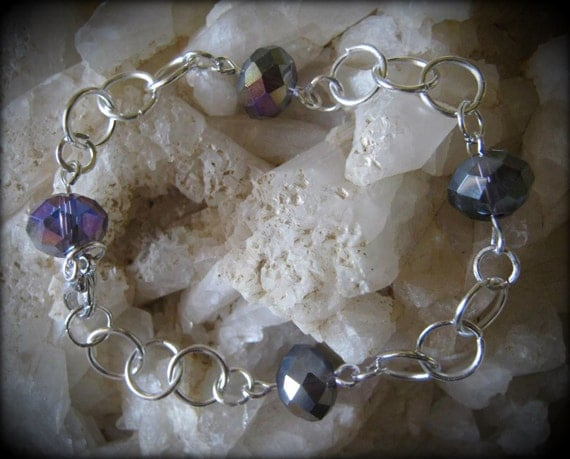 Handmade Silver Bracelet with Lilac Facetted Swarowski Gemstones by IreneDesign2011
