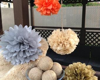 Set of 6 tissue paper pom poms-paper poms-hanging pom poms-tissue poms-wedding pom poms-wedding decoration-birthday pom poms-pompoms-poms