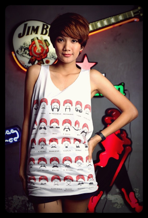 Super Mario Mustache Cute Tank Top Shirt White Men Women Unisex Size S , M, L, XL